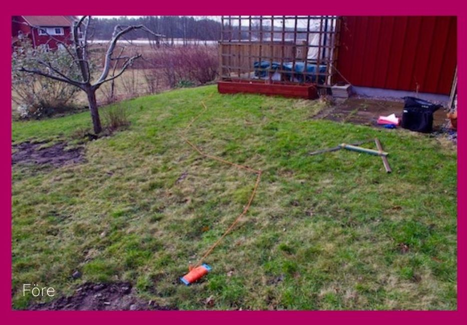 Före. Här vill kunden skapa ett ombonat trädgårdsrum