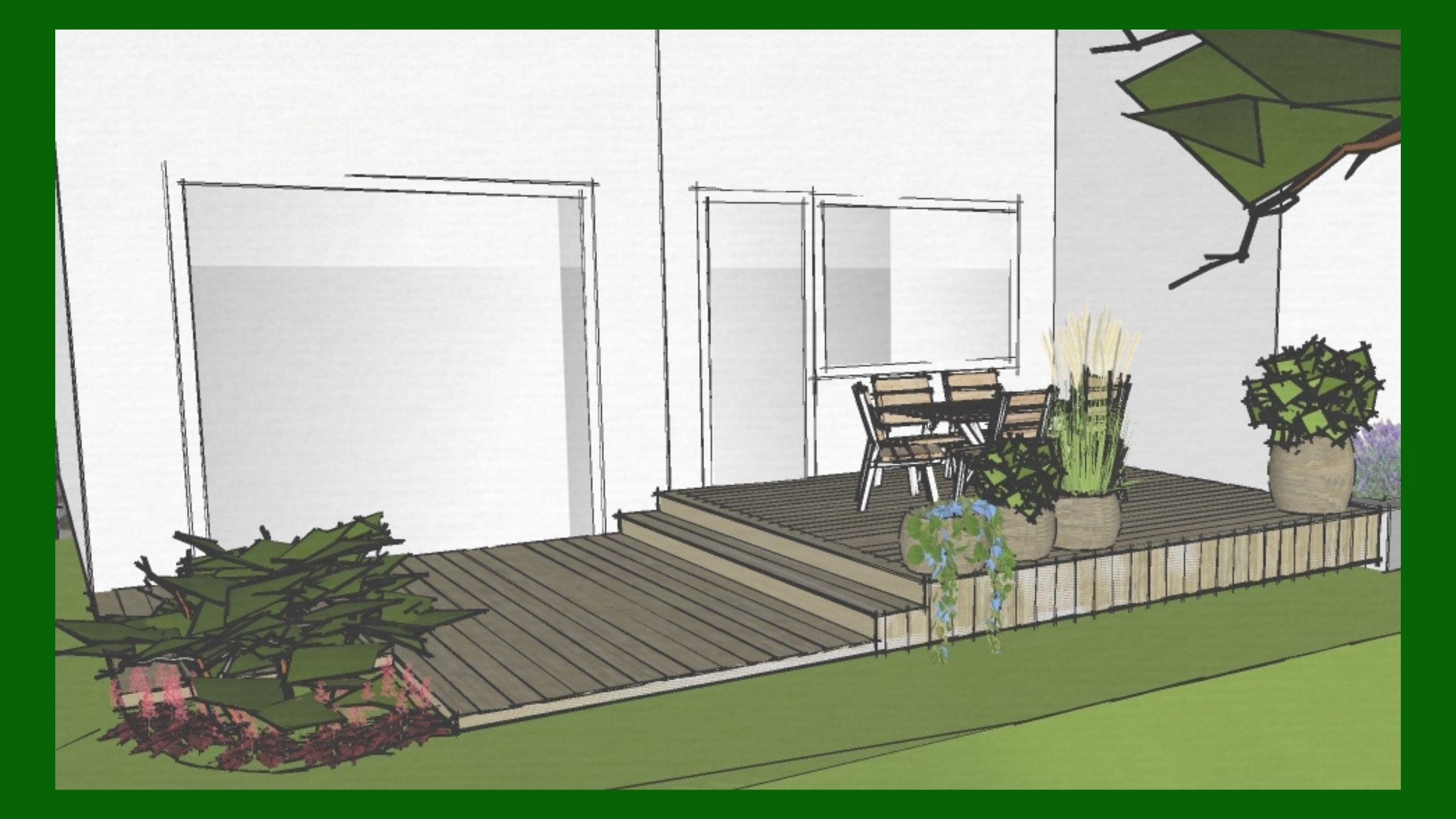 Gränsen mellan inne och ute suddas bort - man kommer ut till altanen direkt från köket. Detaljer från inomhus speglas utomhus. Detta gör det lättare att ta första steget ut i den harmoniska trädgården.