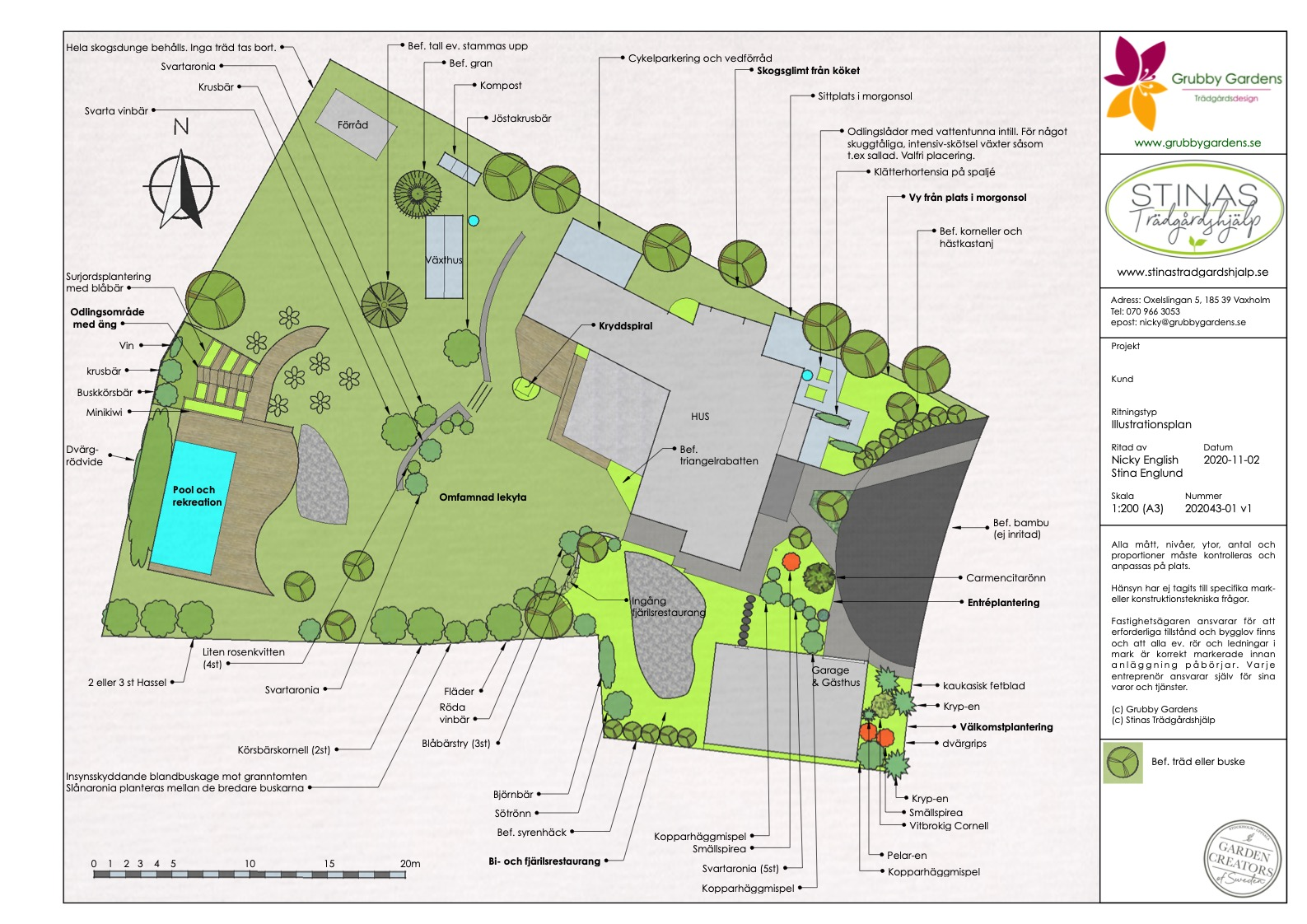 Illustrationsplan av en trädgård på väg att bli ett ätbart insektsparadis.