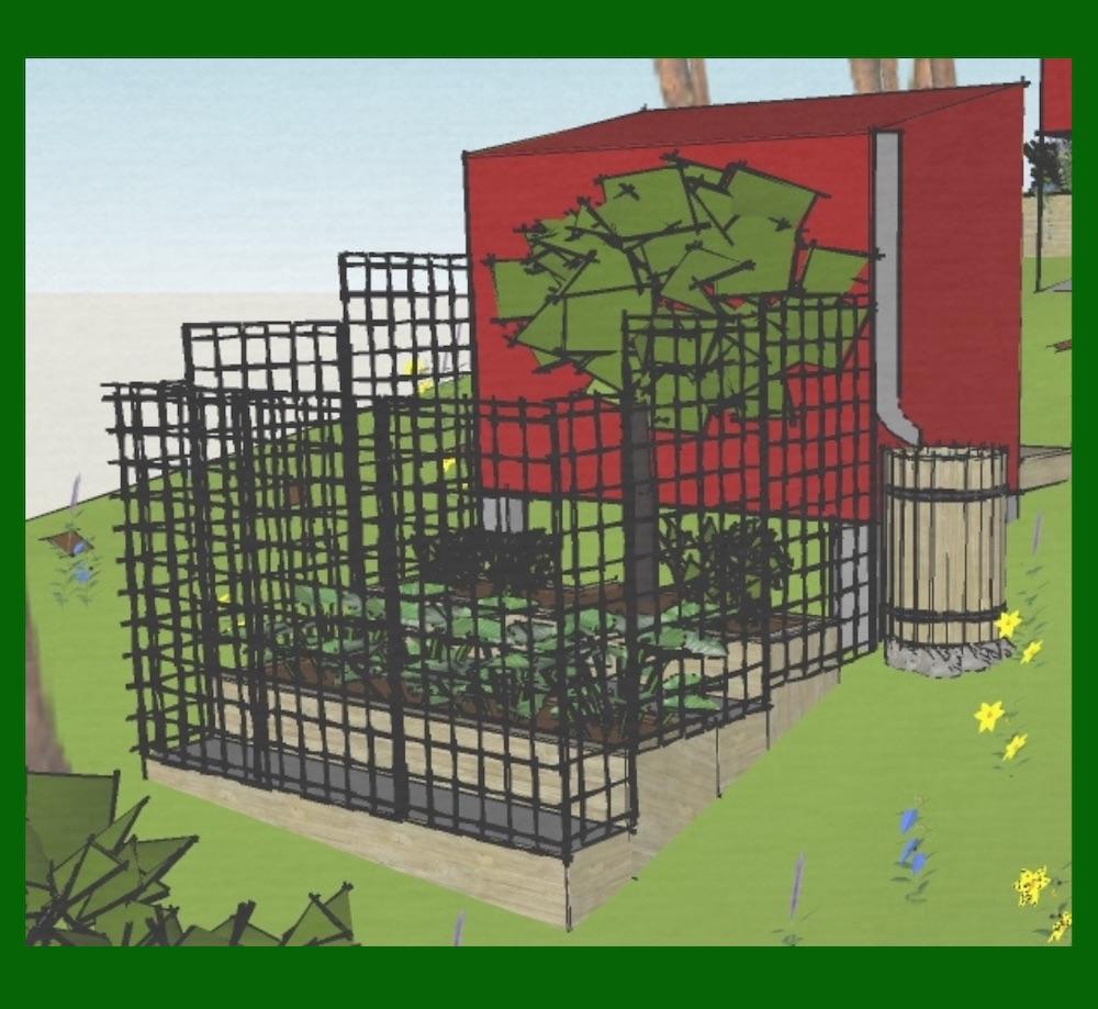 Så småningom tillkommer en inhägnad odlingsbur med upphöjda bäddar i terrasser. Det finns även fördelar med en liten sluttande tomt!