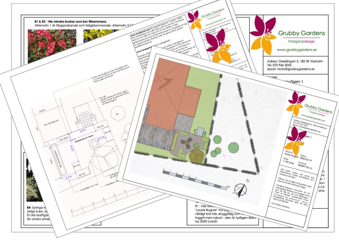 Ritningarna för ett ombonat trädgårdsrum